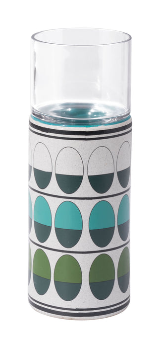 "HomeRoots 4.1"" x 4.1"" x 13"" Green & Teal, Ceramic & Glass, Medium Candle Holder"