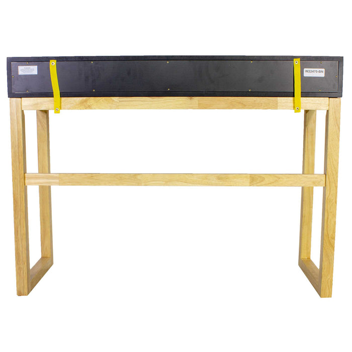 "HomeRoots Office 43"" X 16"" X 32"" Black & Natural Solid Wood Three Drawer Console Table"