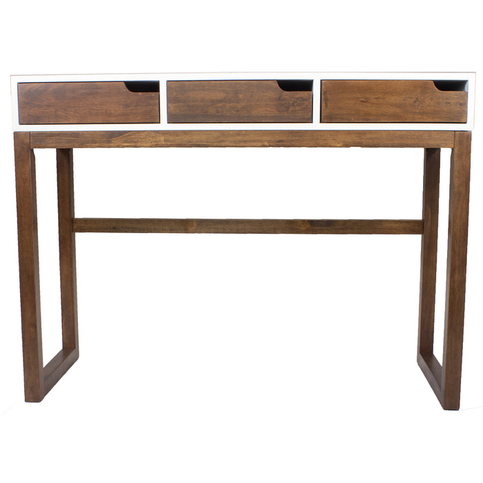 "HomeRoots Office 43"" X 16"" X 32"" White & Mocha Solid Wood Three Drawer Console Table"