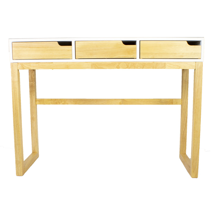 "HomeRoots Office 43"" X 16"" X 32"" White & Natural Solid Wood Three Drawer Console Table"