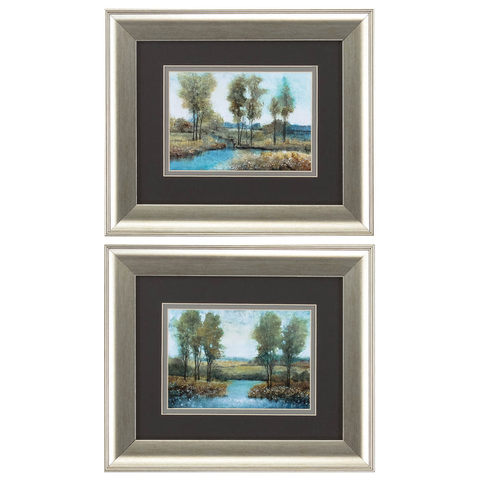 "HomeRoots 13"" X 11"" Brushed Silver Frame Stream Side (Set of 2)"
