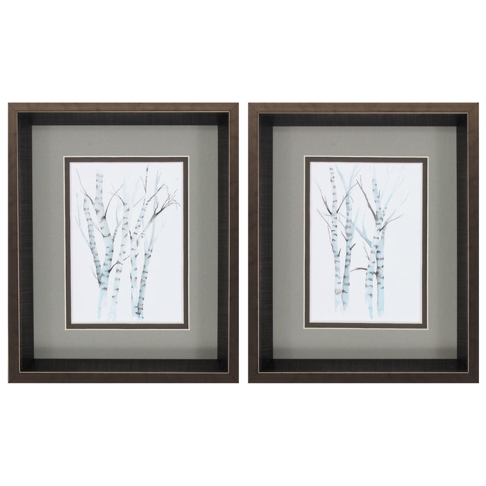 "HomeRoots 10"" X 12"" Brushed Silver Frame Aquarelle Birches (Set of 2)"