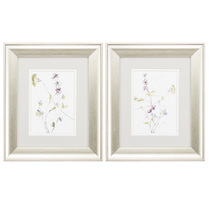 "HomeRoots 11"" X 13"" Brushed Silver Frame Branches & Blossoms (Set of 2)"