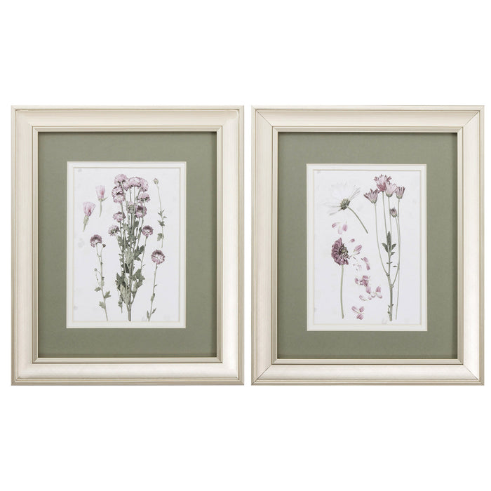 "HomeRoots 10"" X 12"" Champagne Gold Color Frame  Pressed Blooms (Set of 2)"