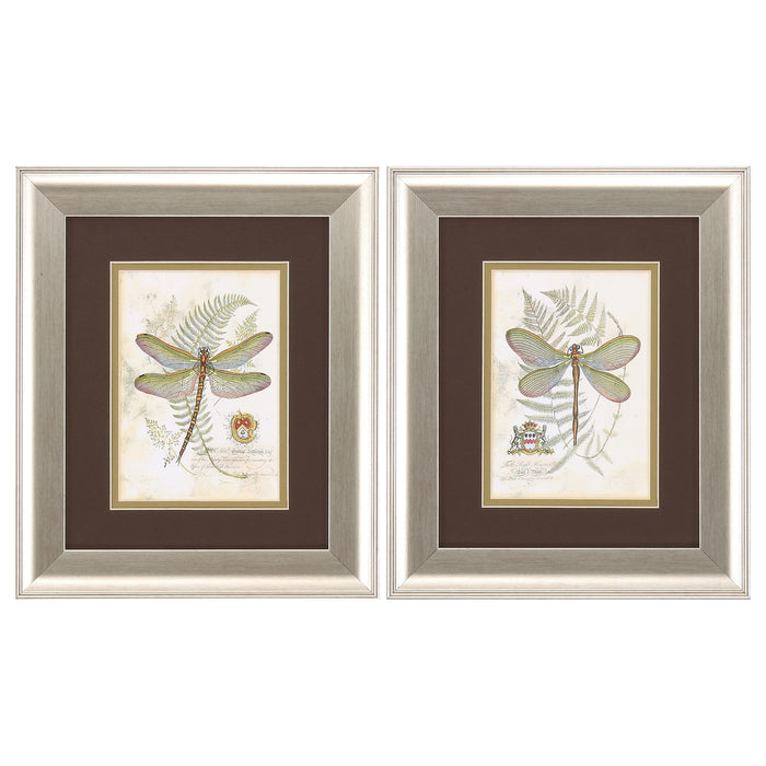 "HomeRoots 11"" X 13"" Brushed Silver Frame Dragonfly (Set of 2)"