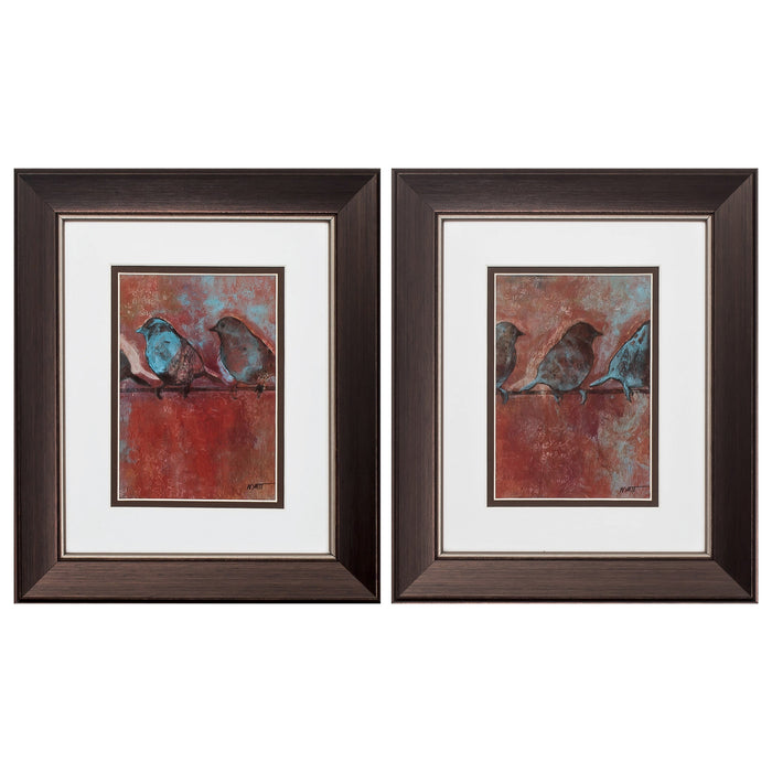"HomeRoots 11"" X 13"" Brown Frame Row Of Sparrows (Set of 2)"