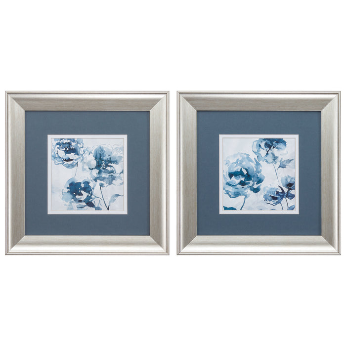 "HomeRoots 13"" X 13"" Brushed Silver Frame Indigo Garden (Set of 2)"