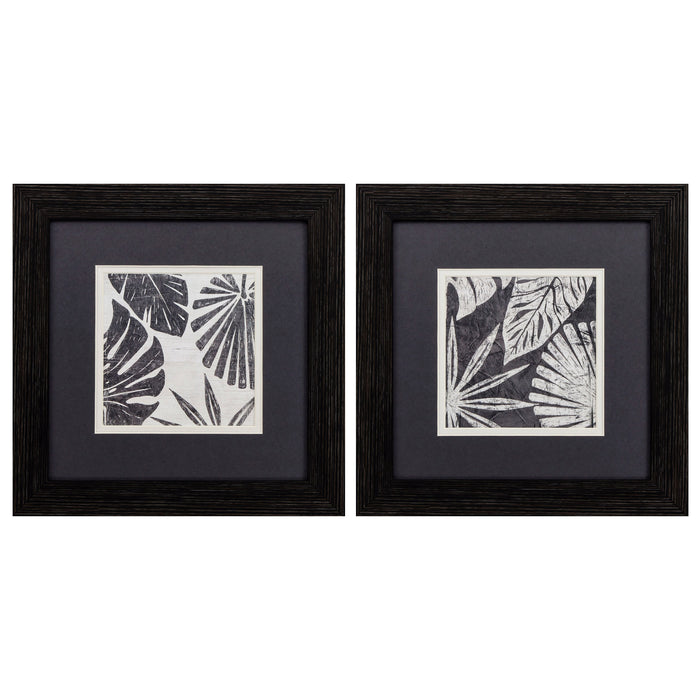 "HomeRoots 12"" X 12"" Distressed Black Frame Tribal Palms (Set of 2)"