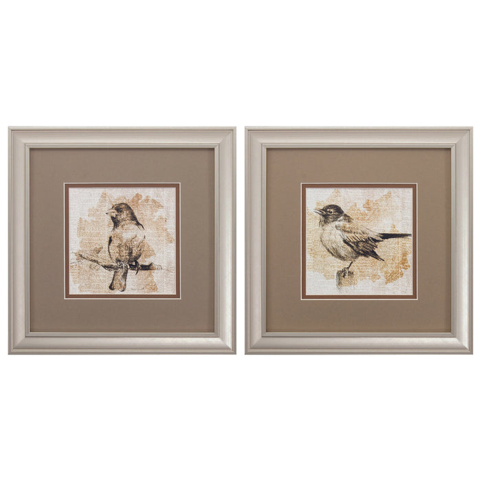"HomeRoots 12"" X 12"" Champagne Gold Color Frame  Bird Sketch (Set of 2)"