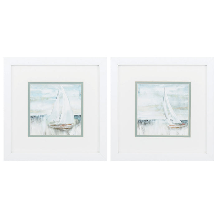 "HomeRoots 11"" X 11"" Matte White Frame Soft Sail (Set of 2)"