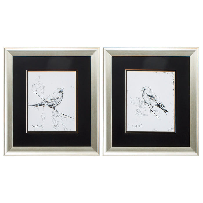 "HomeRoots 16"" X 18"" Aged Silver Frame Song Bird (Set of 2)"