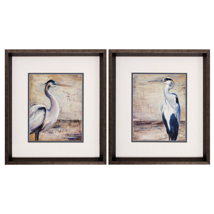 "HomeRoots 15"" X 17"" Brushed Silver Frame Shore Birds (Set of 2)"