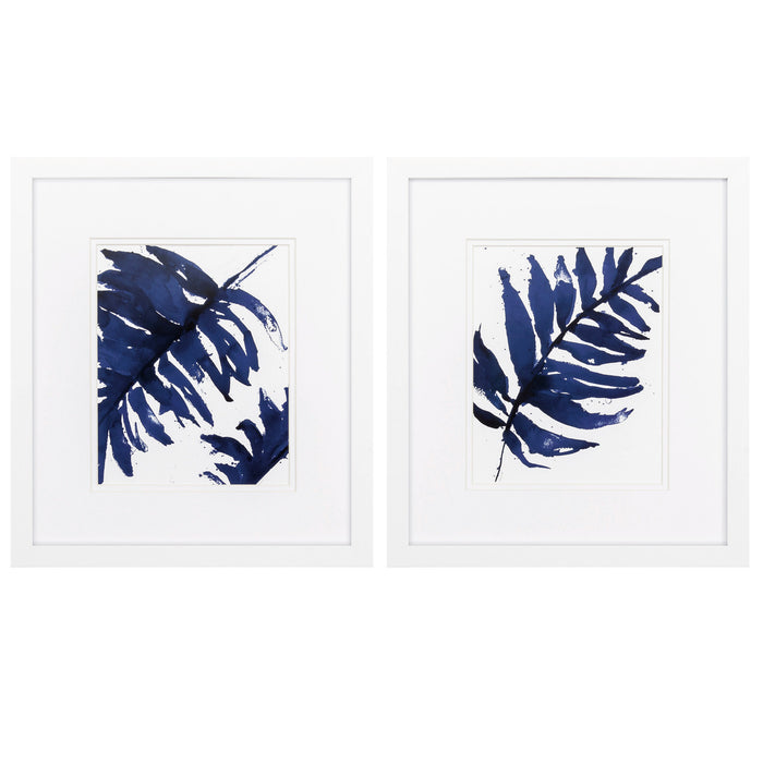"HomeRoots 14"" X 16"" Matte White Frame Blue Ferns (Set of 2)"