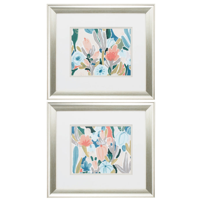 "HomeRoots 18"" X 16"" Brushed Silver Frame Meadow Gala (Set of 2)"