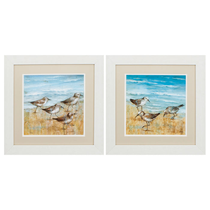 "HomeRoots 19"" X 19"" White Frame Sandpipers (Set of 2)"