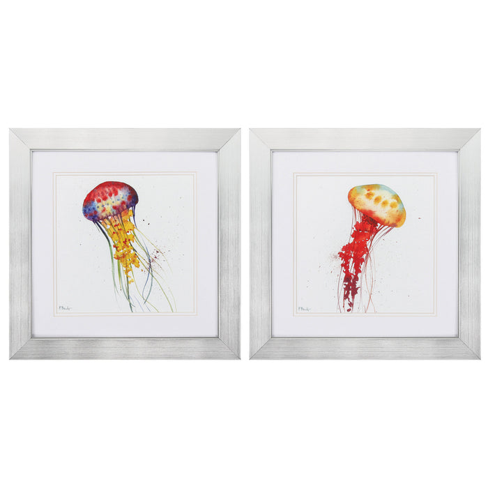 "HomeRoots 20"" X 20"" Silver Frame Deep Sea Jellies (Set of 2)"