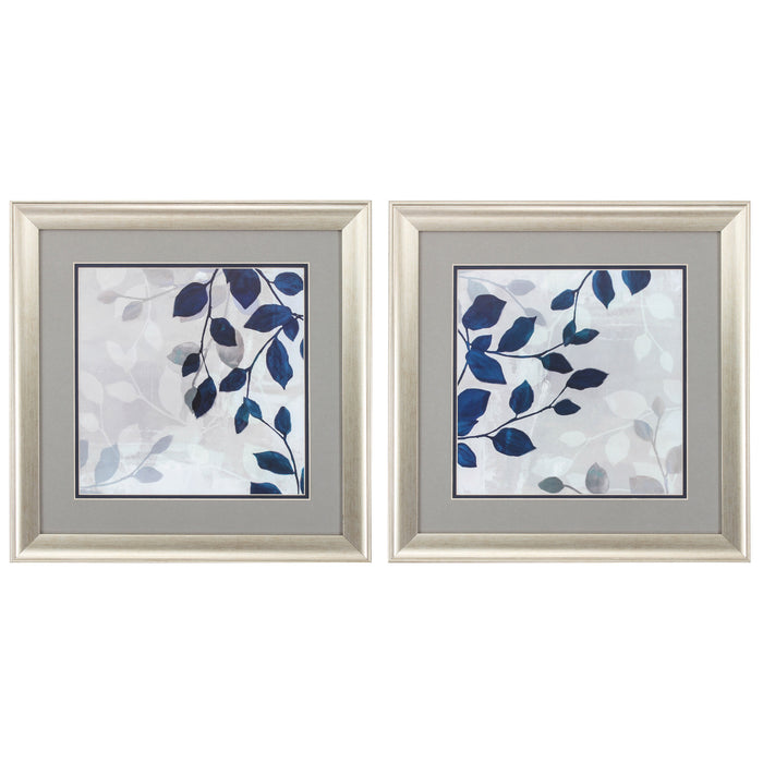 "HomeRoots 19"" X 19"" Brushed Silver Frame Leaves In The Mist (Set of 2)"