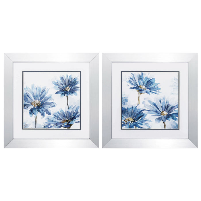 "HomeRoots 20"" X 20"" Silver Frame Bright Blue Garden (Set of 2)"