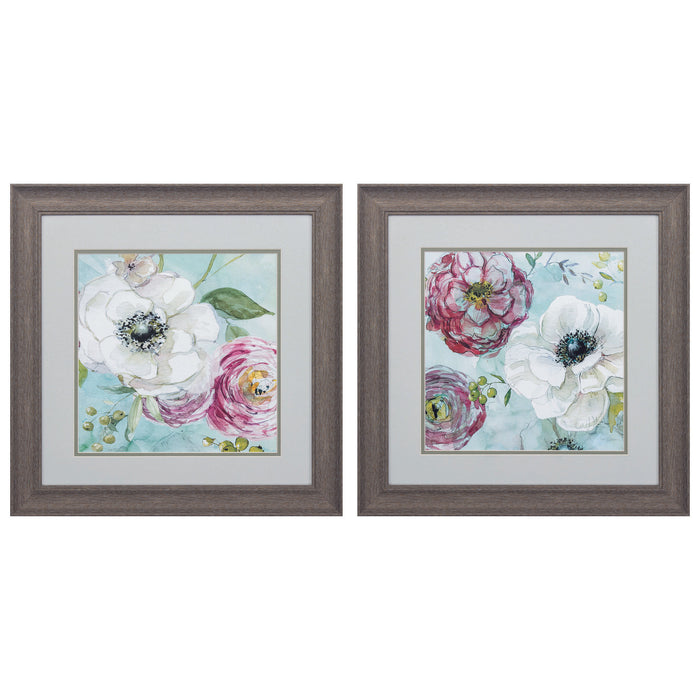 "HomeRoots 19"" X 19"" Distressed Wood Toned Frame Asbury Garden (Set of 2)"