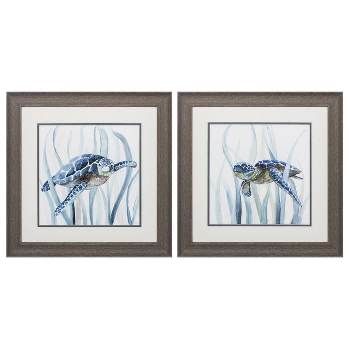"HomeRoots 19"" X 19"" Distressed Wood Toned Frame Turtle In Grass (Set of 2)"