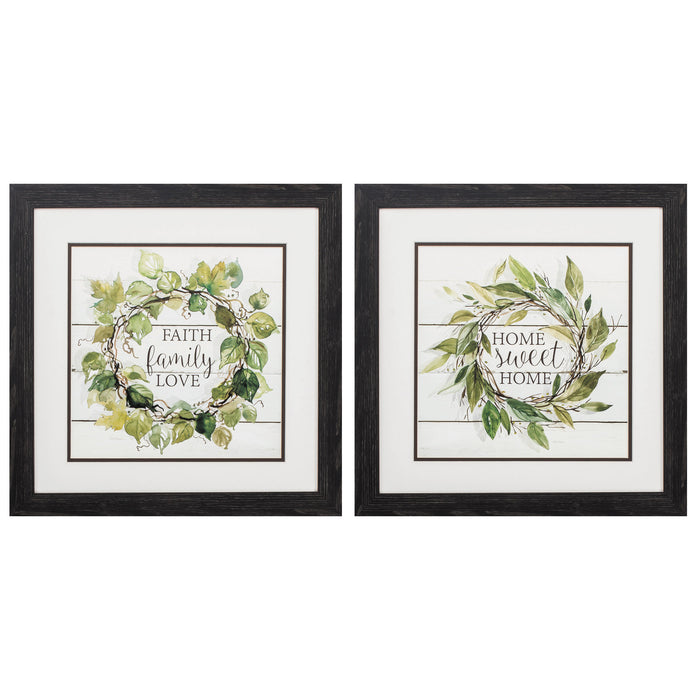 "HomeRoots 18"" X 18"" Distressed Black Frame Faith Home (Set of 2)"