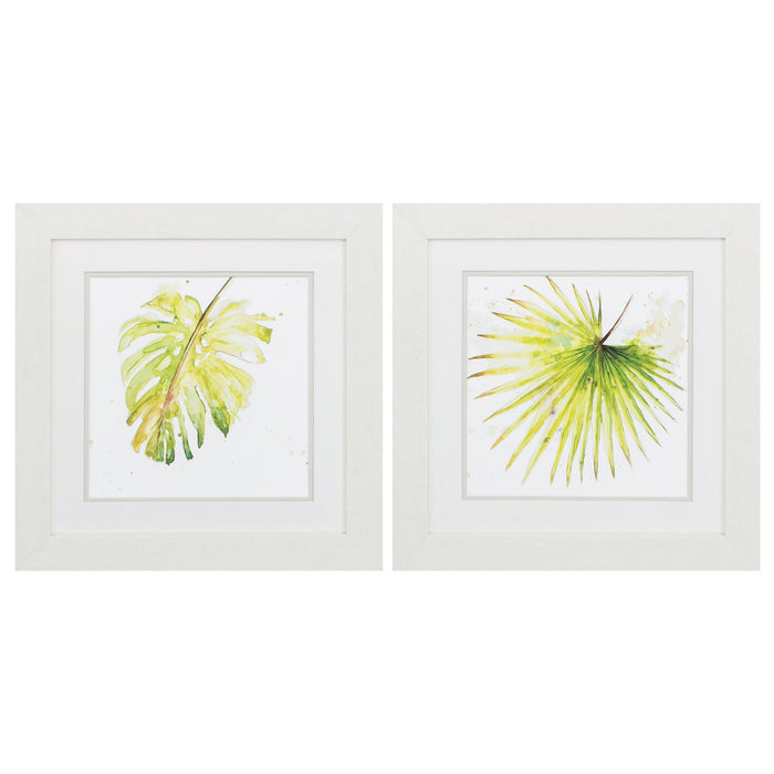 "HomeRoots 19"" X 19"" White Frame Balaze Palma (Set of 2)"