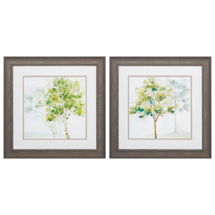 "HomeRoots 19"" X 19"" Distressed Wood Toned Frame Woodland Trees (Set of 2)"