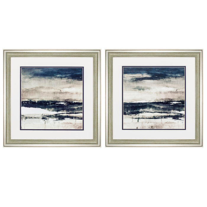 "HomeRoots 19"" X 19"" Brushed Silver Frame Stratscape (Set of 2)"