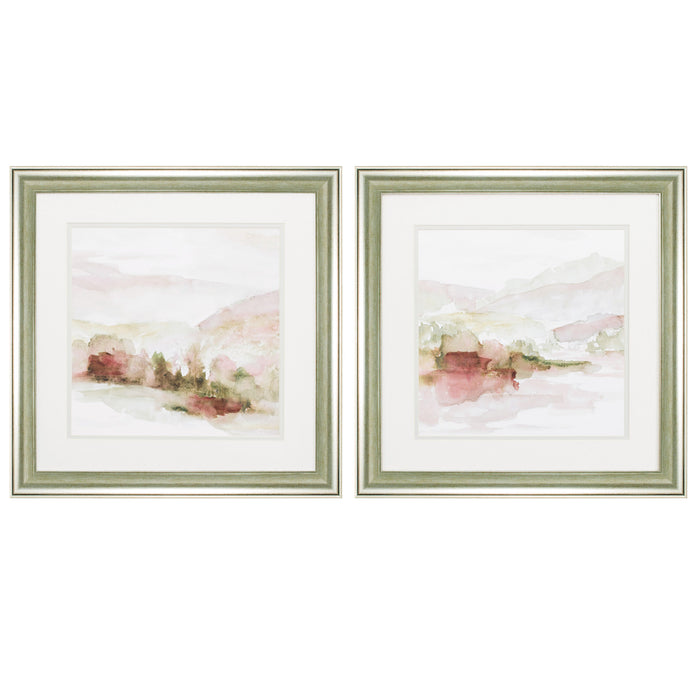 "HomeRoots 19"" X 19"" Brushed Silver Frame Windscape (Set of 2)"