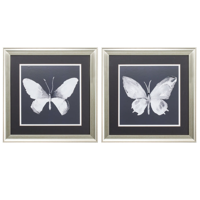 "HomeRoots 19"" X 19"" Brushed Silver Frame Charcoal Butterfly (Set of 2)"
