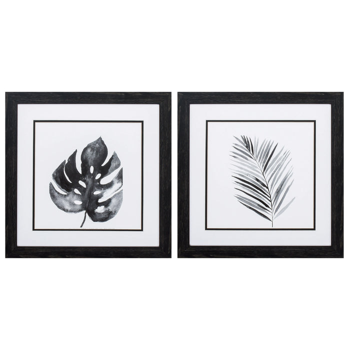 "HomeRoots 18"" X 18"" Distressed Black Frame Bw Palm (Set of 2)"