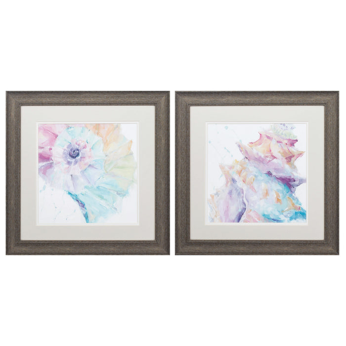 "HomeRoots 19"" X 19"" Distressed Wood Toned Frame Rainbow Seashell (Set of 2)"