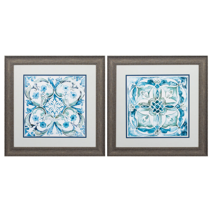 "HomeRoots 19"" X 19"" Distressed Wood Toned Frame Carribean Tile (Set of 2)"
