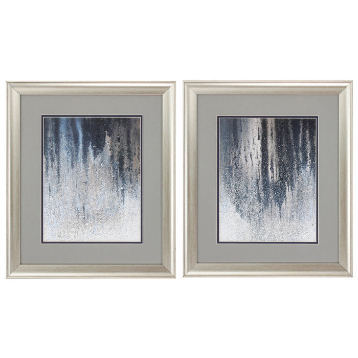 "HomeRoots 19"" X 22"" Brushed Silver Frame Summer Woods (Set of 2)"