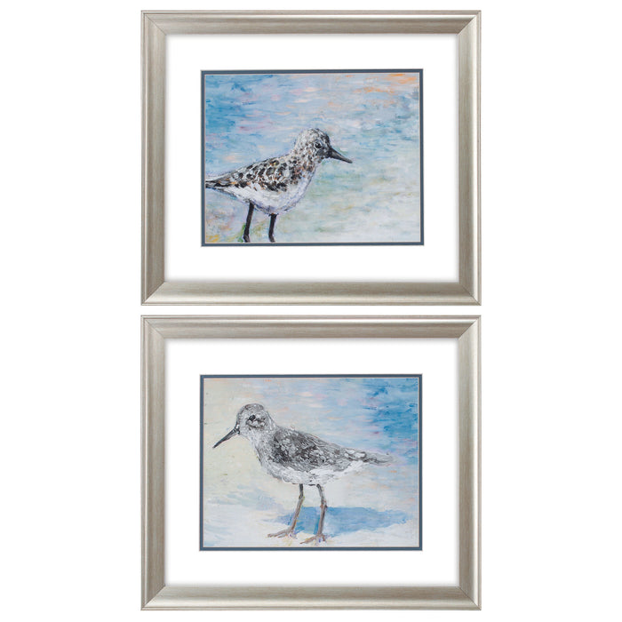 "HomeRoots 22"" X 19"" Brushed Silver Frame Sandpiper (Set of 2)"