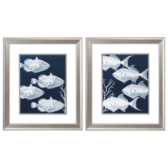 "HomeRoots 19"" X 22"" Brushed Silver Frame Deep Blue Sea (Set of 2)"