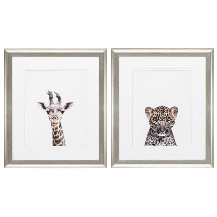 "HomeRoots 19"" X 22"" Brushed Silver Frame Giraffe Leopard (Set of 2)"
