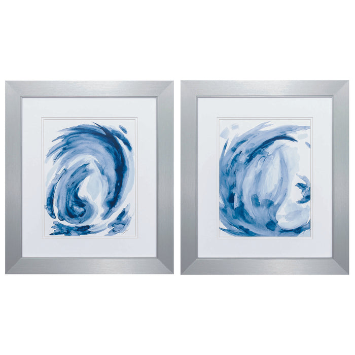 "HomeRoots 20"" X 23"" Silver Frame Blue Swirl (Set of 2)"