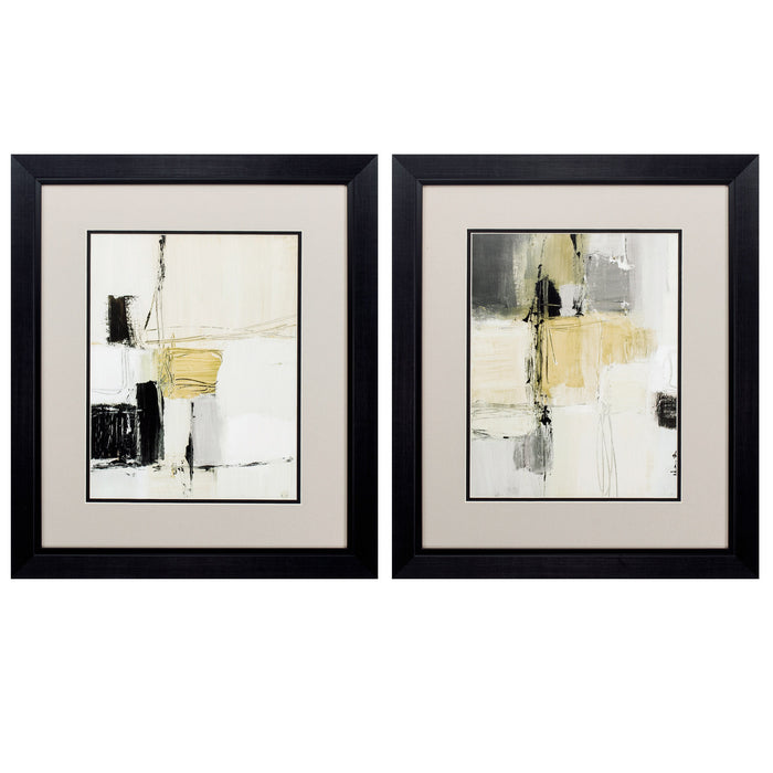 "HomeRoots 19"" X 22"" Black Frame Earth Tone Variety (Set of 2)"