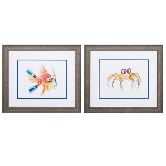 "HomeRoots 22"" X 19"" Distressed Wood Toned Frame Fish Crab (Set of 2)"