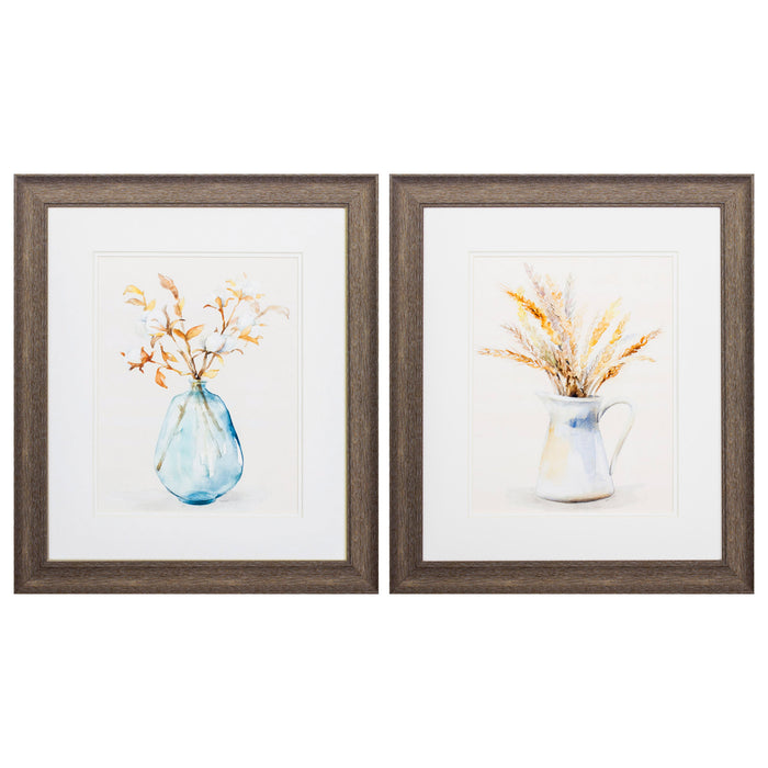 "HomeRoots 19"" X 22"" Distressed Wood Toned Frame Cotton Wheat (Set of 2)"