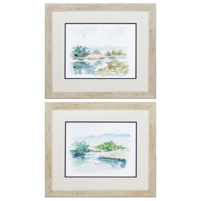 "HomeRoots 22"" X 19"" White Frame Spring Watercolor (Set of 2)"