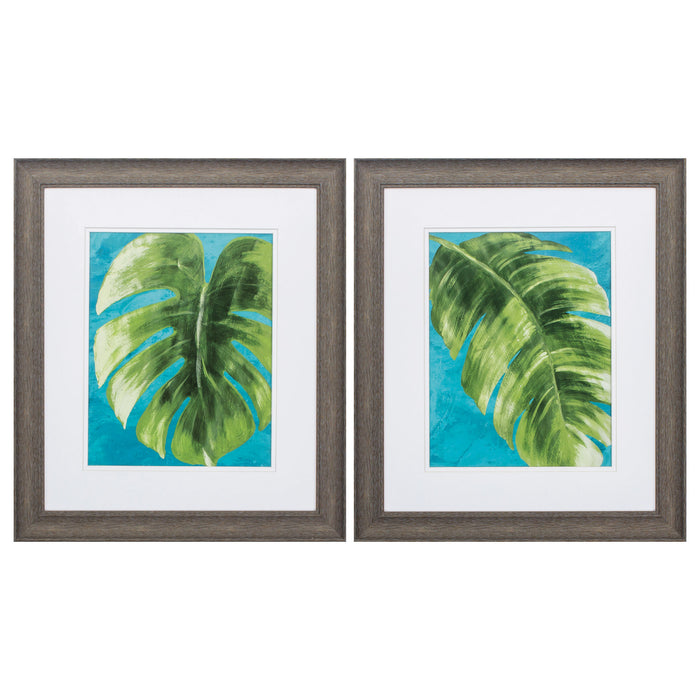 "HomeRoots 19"" X 22"" Distressed Wood Toned Frame Tropical Split (Set of 2)"