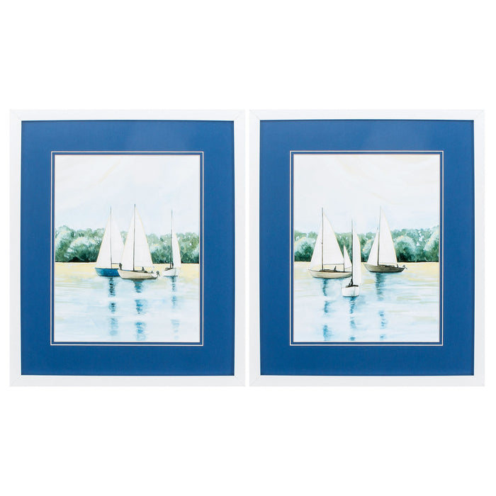 "HomeRoots 17"" X 20"" Matte White Frame Afternoon Sail (Set of 2)"