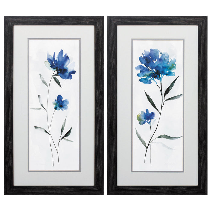 "HomeRoots 14"" X 26"" Distressed Black Frame Beautiful Blue (Set of 2)"