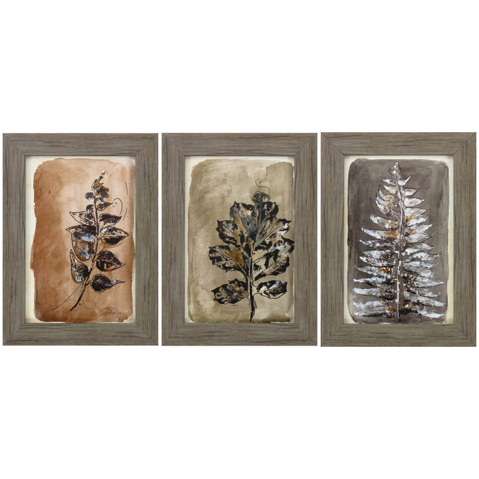"HomeRoots 11"" X 15"" Woodtoned Frame Sepia Leaves II (Set of 3)"