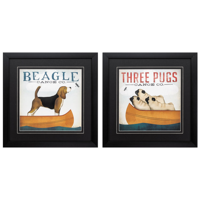 "HomeRoots 18"" X 18"" Dark Wood Toned Frame Beagle Pugs (Set of 2)"