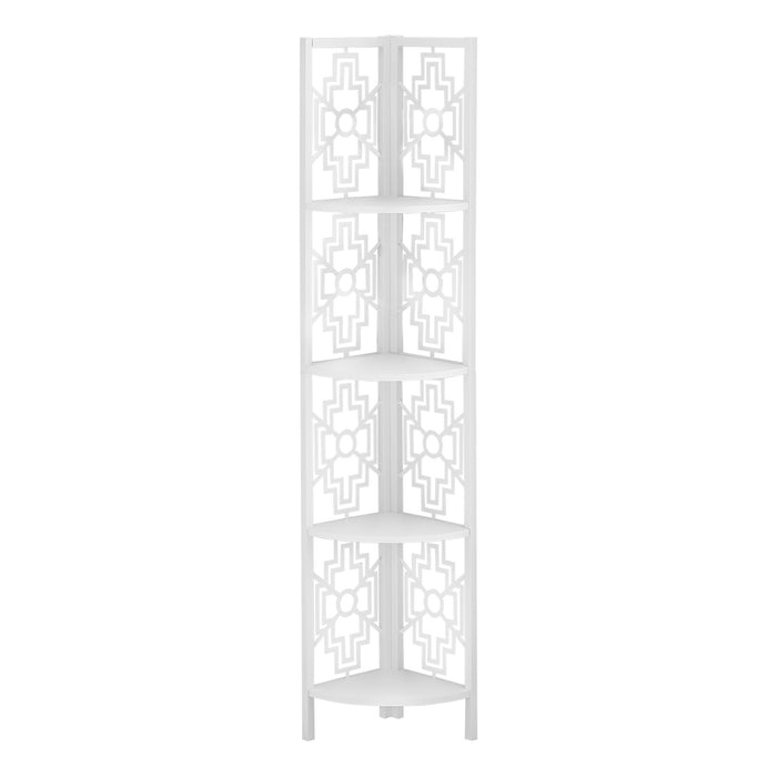 "HomeRoots Office 15'.5"" X 11"" X 61'.5"" White Metal Corner Etagere Bookcase"