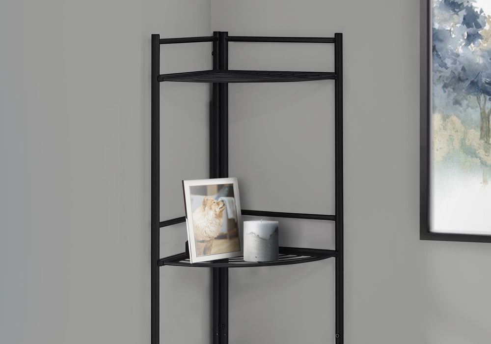 "HomeRoots Office 18'.5"" X 13'.5"" X 57'.75"" Black Metal Corner Etagere Bookcase"