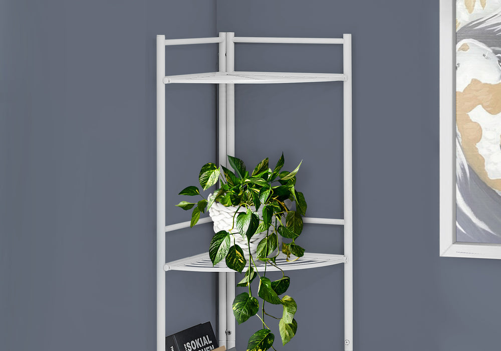 "HomeRoots Office 18'.5"" X 13'.5"" X 57'.75"" White Metal Corner Etagere Bookcase"